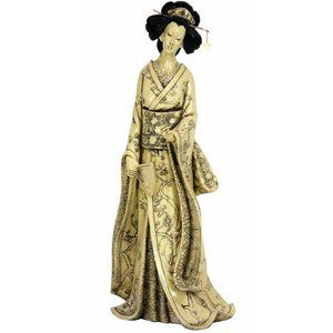 Oriental Furniture 14'' Geisha Figurine with Plum Tree Kimono
