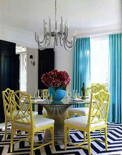 black & white chevron, yellow  & teal - beautiful color combinations