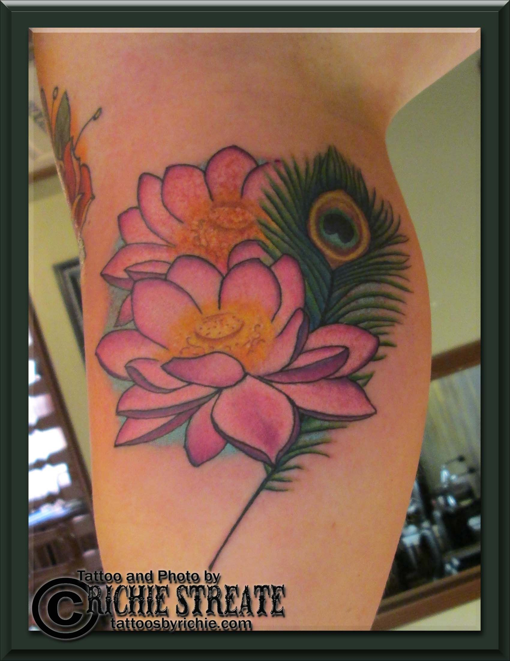 Pink Lotus Flowers And Peacock Feather Tattoo Tattoos By Richie