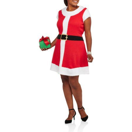4400c2354aa Plus Size Holiday Time Women S Plus Christmas Sweater Dress - Santa s Night  Out