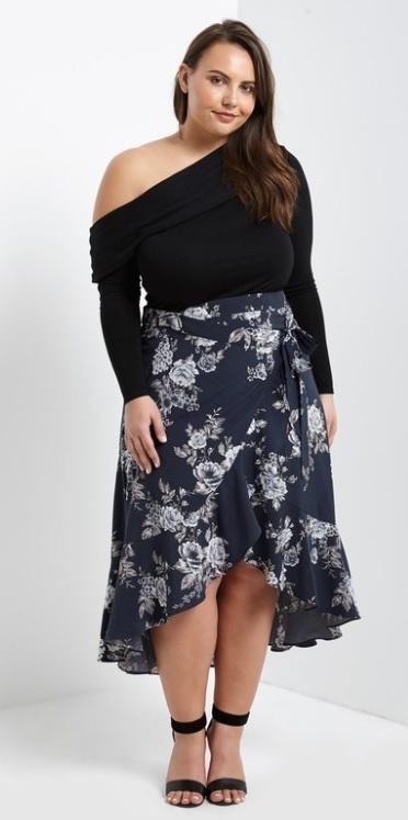 6c4dfc2146778e Plus Size Floral Ruffle Midi Wrap Skirt – Curvalicious Clothes ...