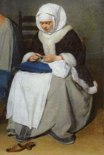 """c. 1656. Detail of """"Woman Sewing by a Cradle"""" by Gerard ter Borch. Blue naaikussen (sewing cushion)."""