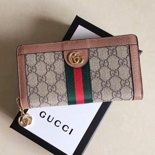 54029b92100218 Gucci Ophidia GG Zip Around Wallet 523154 Pink 2018 | Gucci 2018 ...
