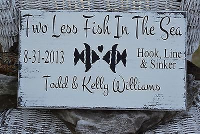 Wedding Sign Decor Two Less Fish In The Sea Beach Wedding Sign - Personalized Wood Gift - Lake Weddings - Customizable Colors