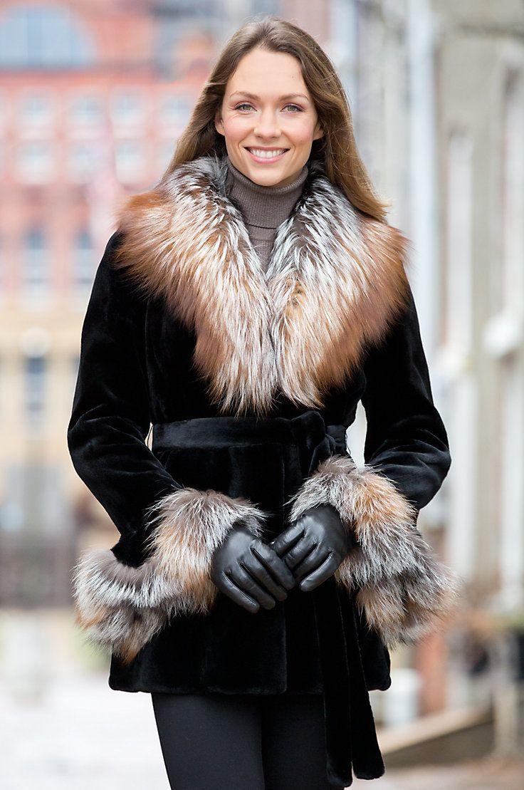 ceae02898b9 Elizabeth Danish Mink Fur Jacket with Fox Fur Collar by Overland Sheepskin  Co. (style 99940)