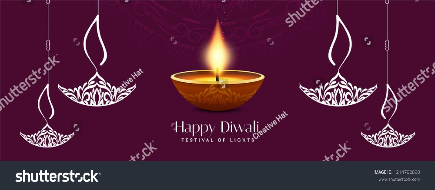 Abstract Stylish Happy Diwali Festival Banner Template