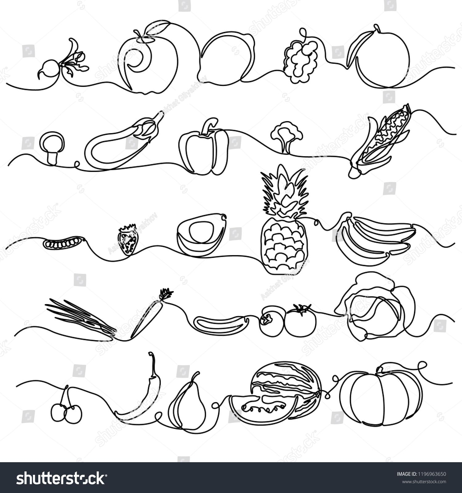 Continuous Line Fruits And Vegetables Design Element For Grocery Store Vegetable Shop Vector Illus Vegetable Illustration Vegetable Design Line Illustration