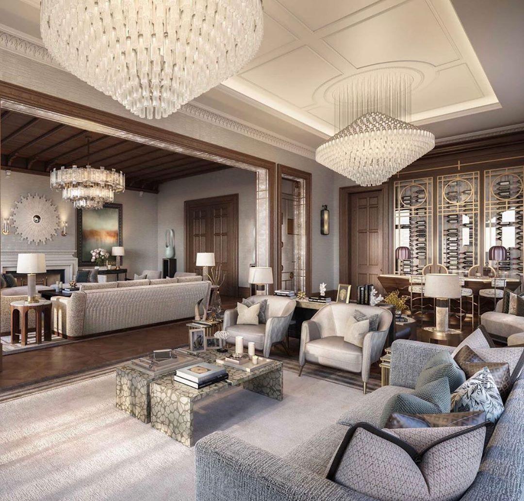 """Interior Design ▪️ Home Decor on Instagram: """"Design: @katharinepooleyltd  Follow @olla_home for more inspiration❤️ . . . . . #luxuryliving #livingroom #livingroomdecor…"""""""
