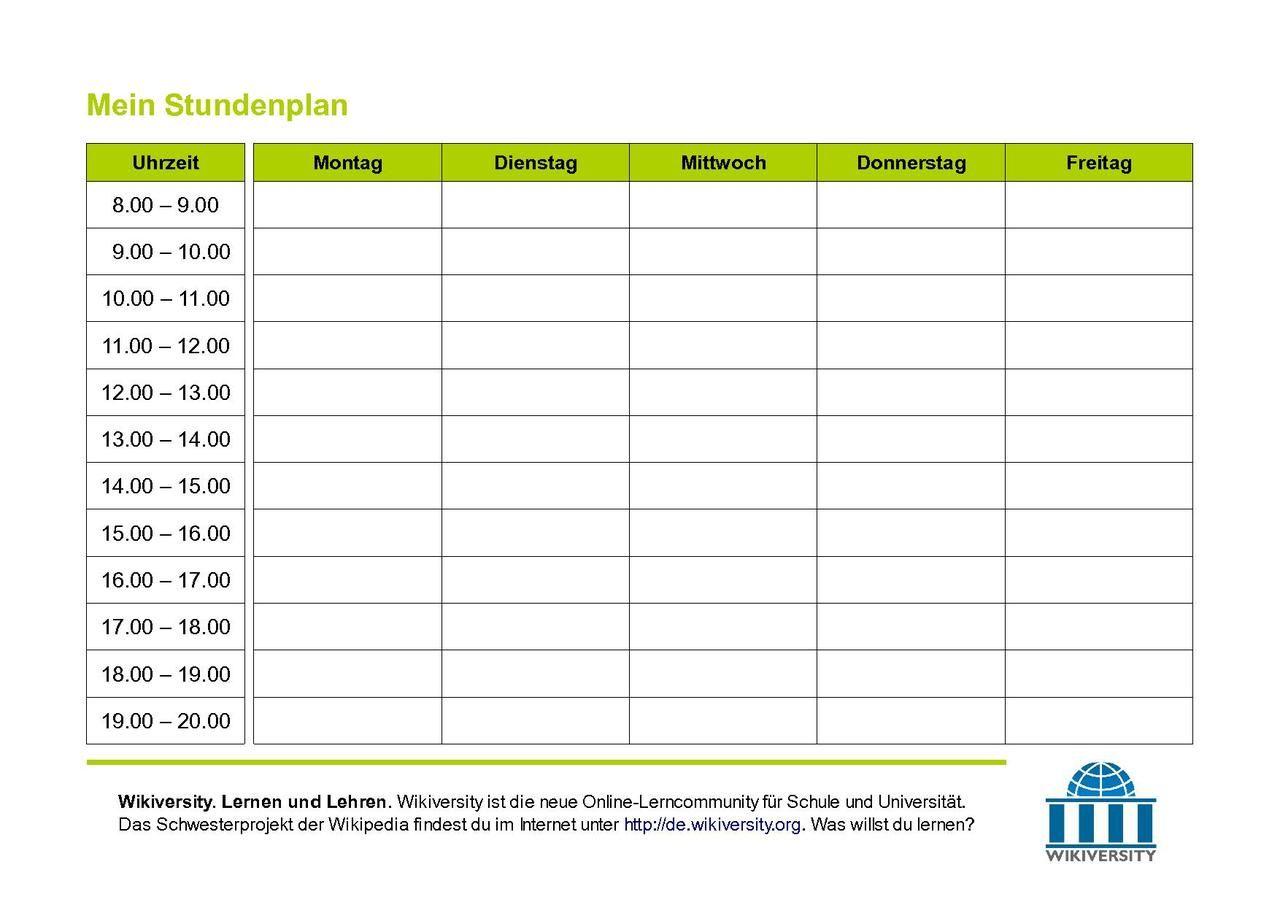 Stundenplan Online Erstellen Studium