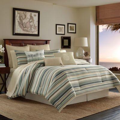 Tommy Bahama Canvas Stripe Reversible California King Comforter