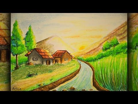 Pastel Color Painting Of A Landscape Scenery For Beginner Tutorial Pastel Color Drawing Tutorial You Drawing Scenery Easy Scenery Drawing Scenery Paintings