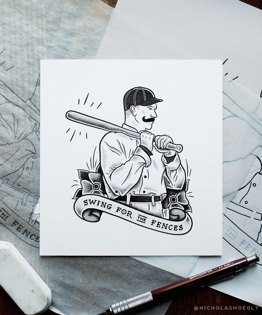 Another Traditional Flash Piece To Add To The Series Getting Close To Having Baseball Tattoos Be Brave Tattoo Traditional Flash