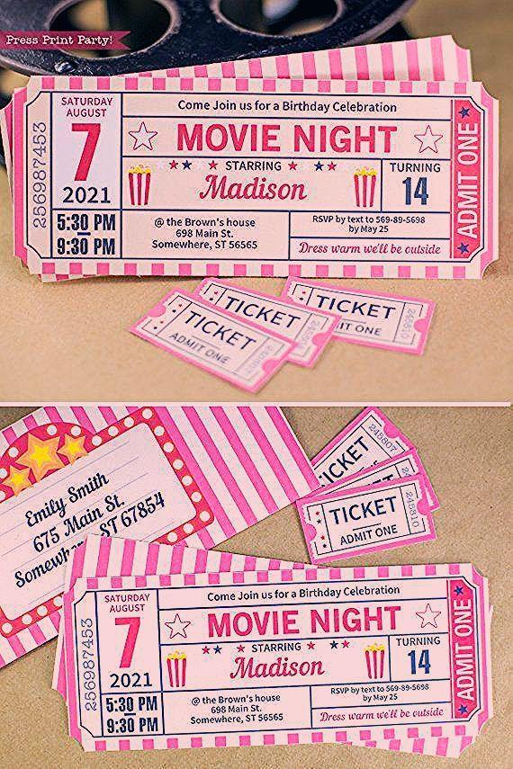 Photo of FILM NACHT Einladung Ausdrucke. Ticketeinladung mit extra Tickets und …