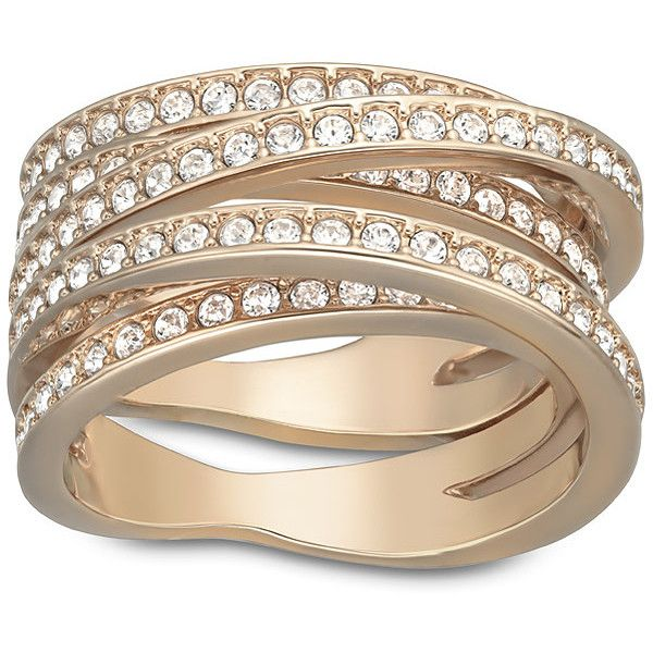 Swarovski Spiral Ring Swarovski Ring Rose Gold Plated Ring Swarovski Jewelry Rings