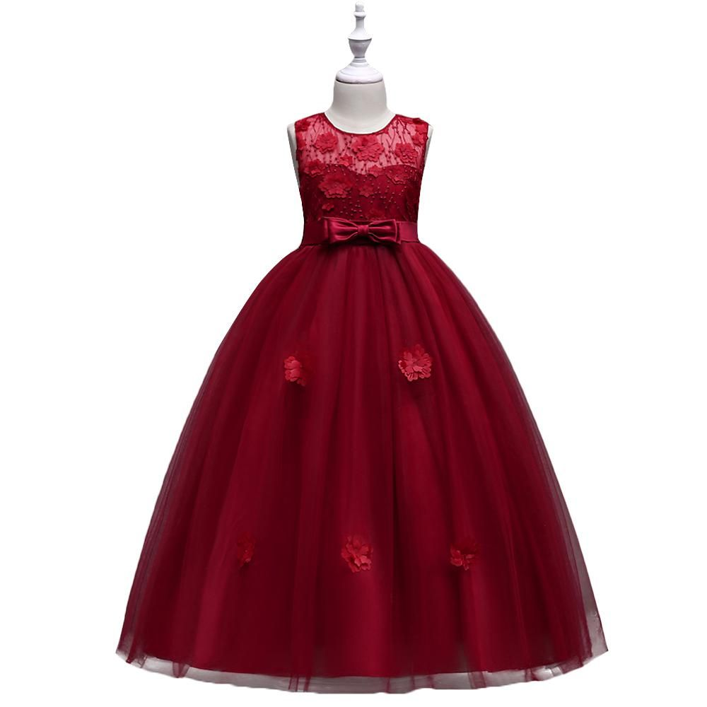Baohulu red appliques mesh girls dress for evening wedding party