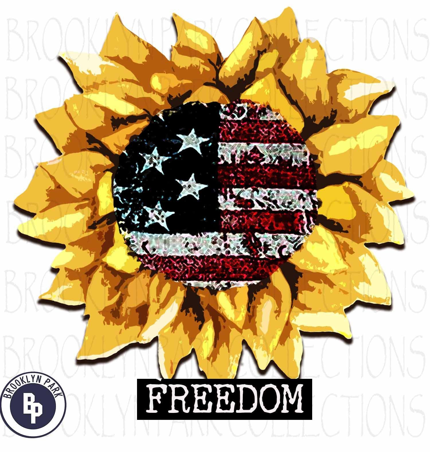 Watercolor American Flag, Sunflower, FREEDOM, USA, Instant Digital Download, Sublimation PNG, Art Print