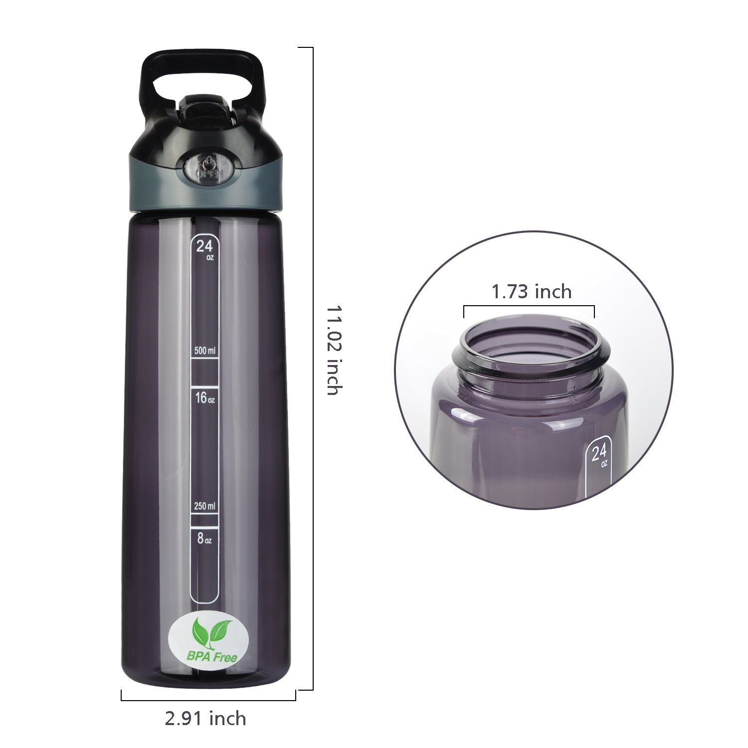 WIBO Sports Water Bottle With Straw 24ozBPA Free Water