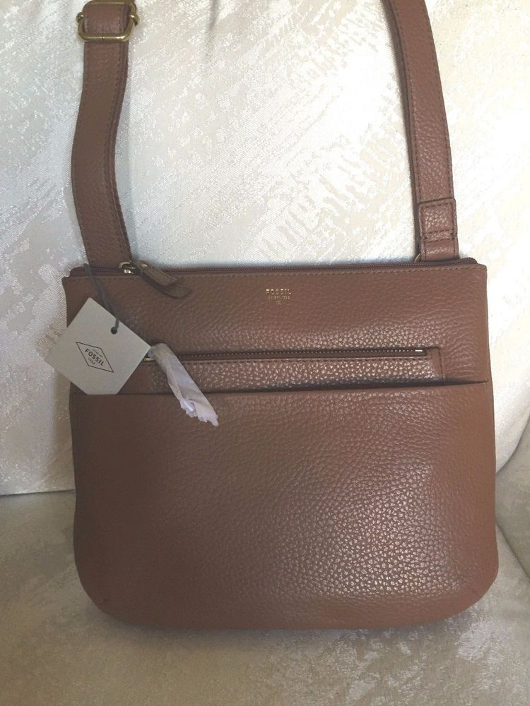 Fossil Purse Crossbody Tessa Brown Leather Handbag New Messengercrossbody Nwt