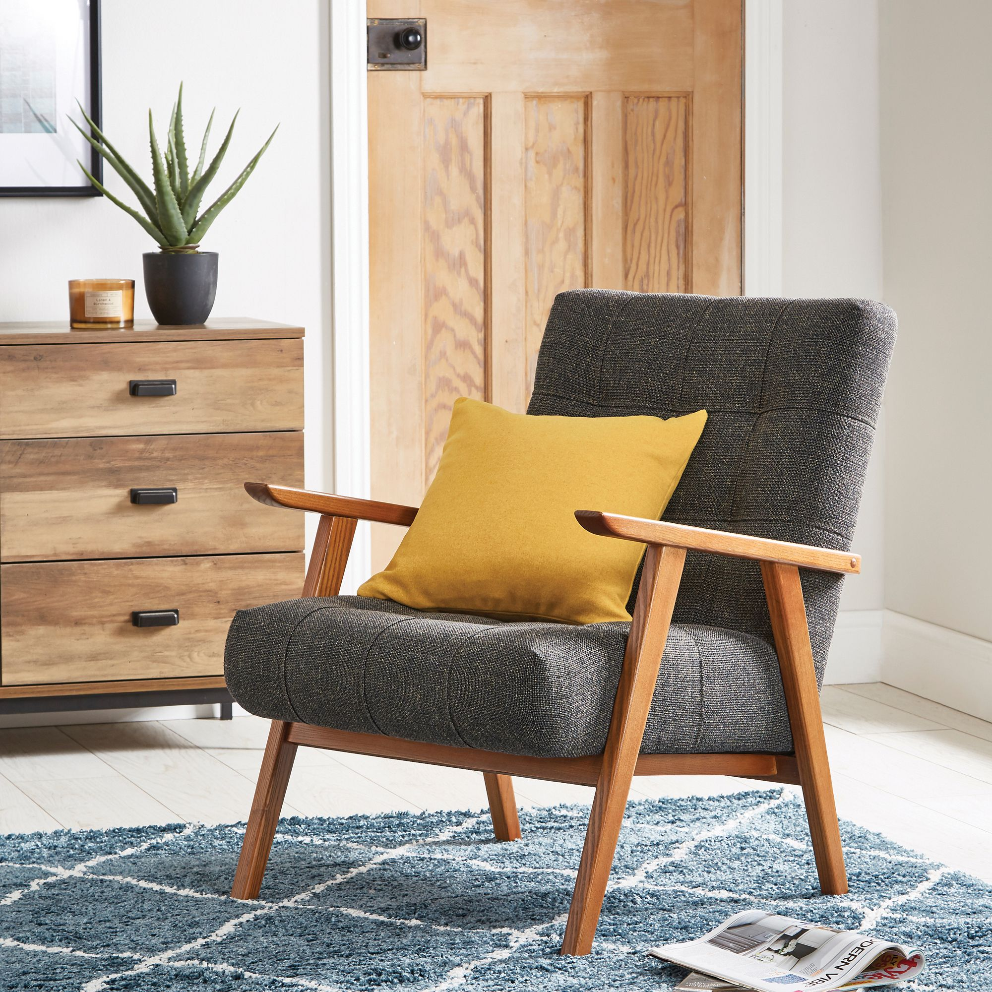 Arkin Wooden Frame Accent Chair Grey With Images Accent