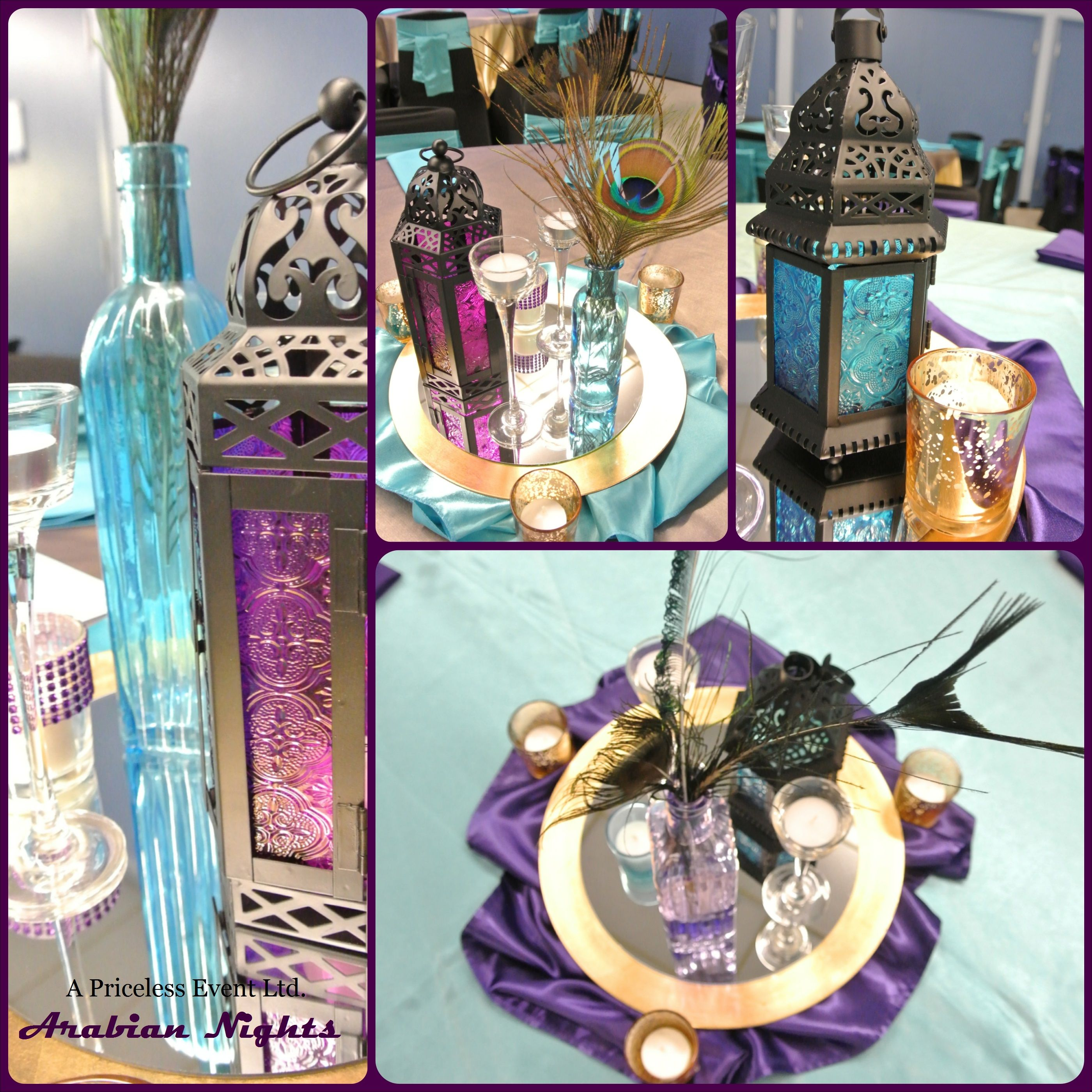 Purple turquoise gold arabian nights centerpieces for Arabian nights party decoration ideas