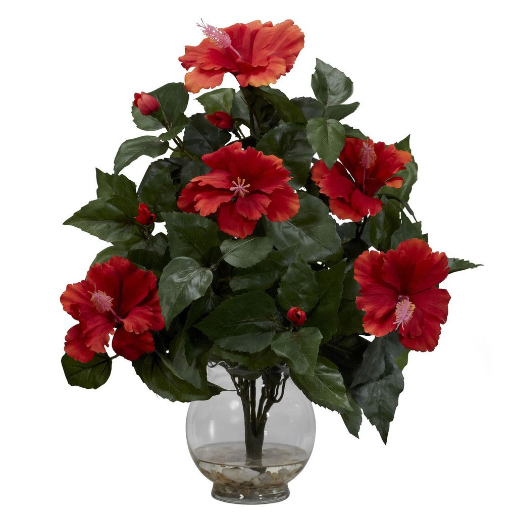 Hibiscus W Fluted Vase Silk Flower Arrangement Flower Vase Arrangements Artificial Silk Flowers Artificial Flower Arrangements