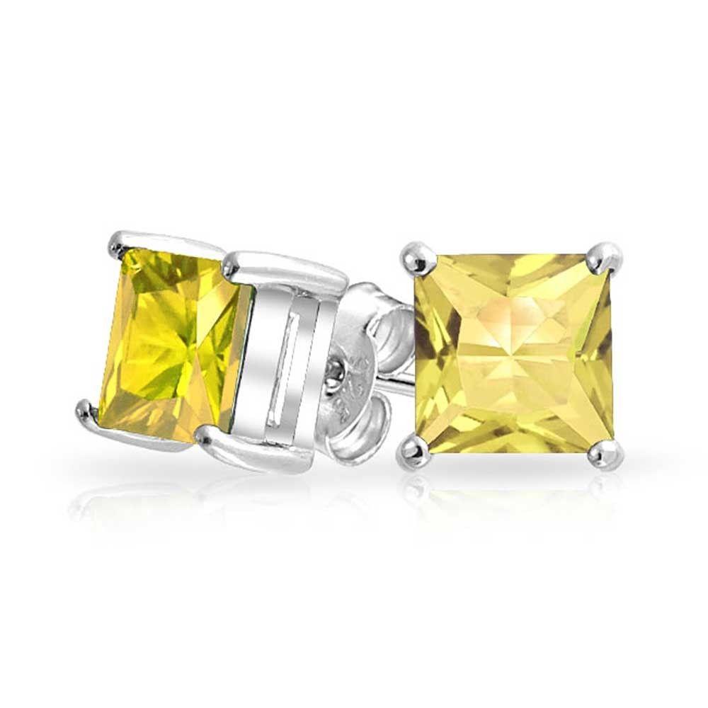 Citrine CZ November Birthstone Stud Earrings .925 Sterling Silver Square Basket