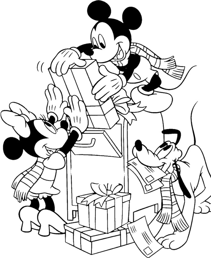 Mickey Mouse And Friends Send Gifts For Christmas Day Coloring