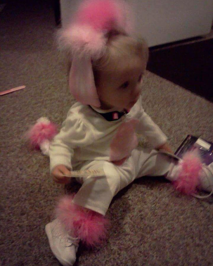 1 year old Poodle Costume Including Ear Clips Tail with elastic - 1 year old halloween costume ideas