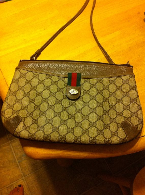 9bcf866dd6c Vintage Gucci handbag brown with serial number on Etsy