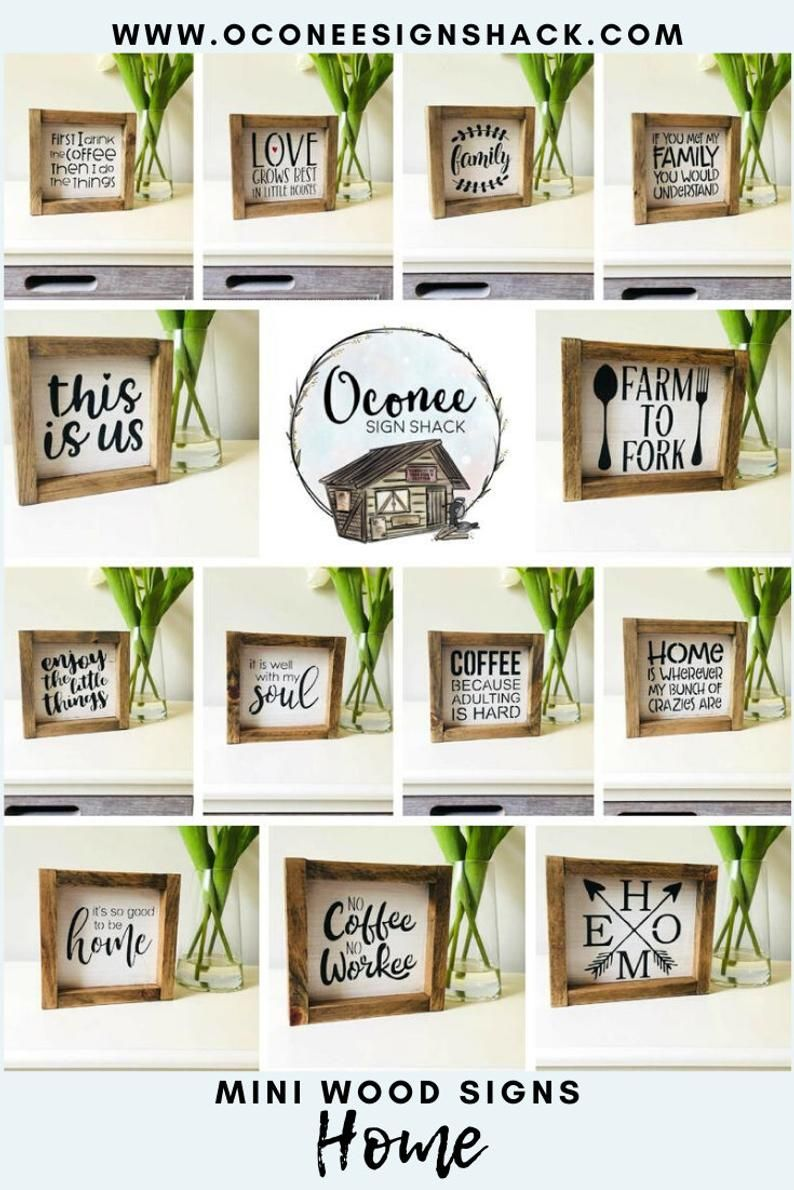 Mini Home Signs, 10 to choose from, Small Home Signs, Mini Home Decor, Mix and Match, Pick One or All, Framed Wood Sign, Small Hostess Gift