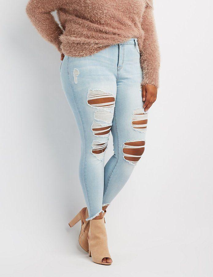 2cc0920c863 Charlotte Russe Plus Size Refuge Skin Tight Legging Destroyed Jeans
