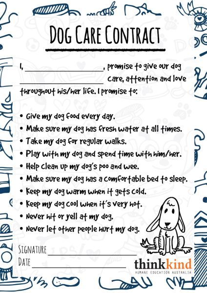 Dog Care Contract For Kids Animals For Kids Pet Care Printables