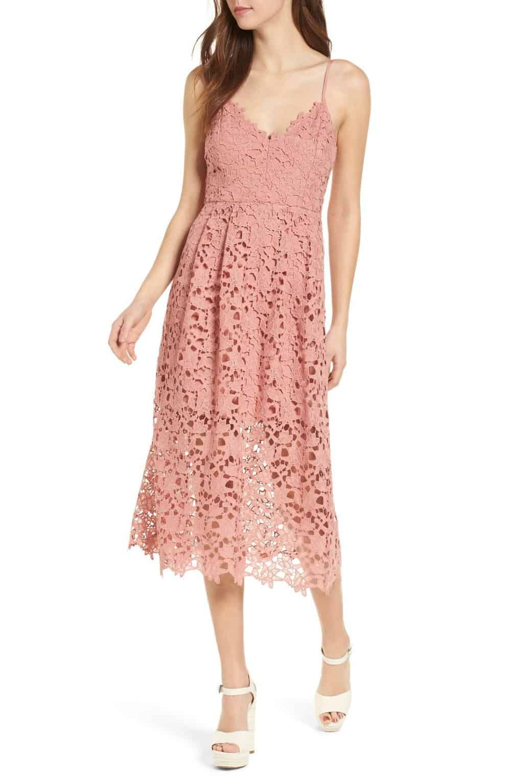 Dusty Pink Lace Midi Dress for a