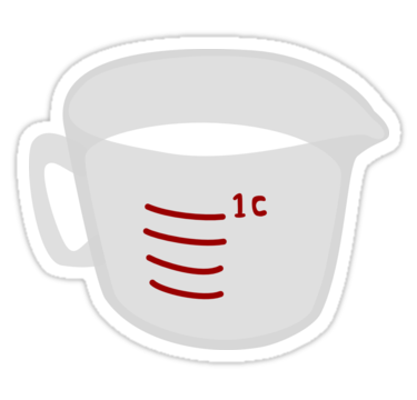 Measuring Cup Of Milk Sticker By 13sparrows Stickers Aesthetic Stickers Cup