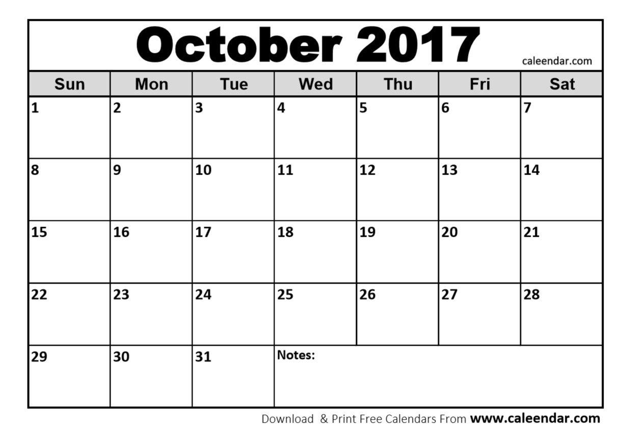 October Calendar 2017 Calendar Printables 2017 Printable
