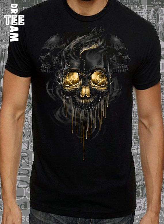 Gold eyes smoke scull print on white black or gray by DreamTee
