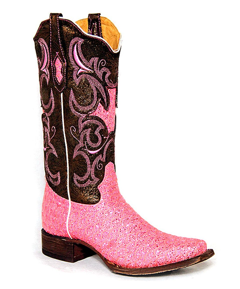 This Tanner Mark Boots Dragon Hot Pink Shimmer Chocolate