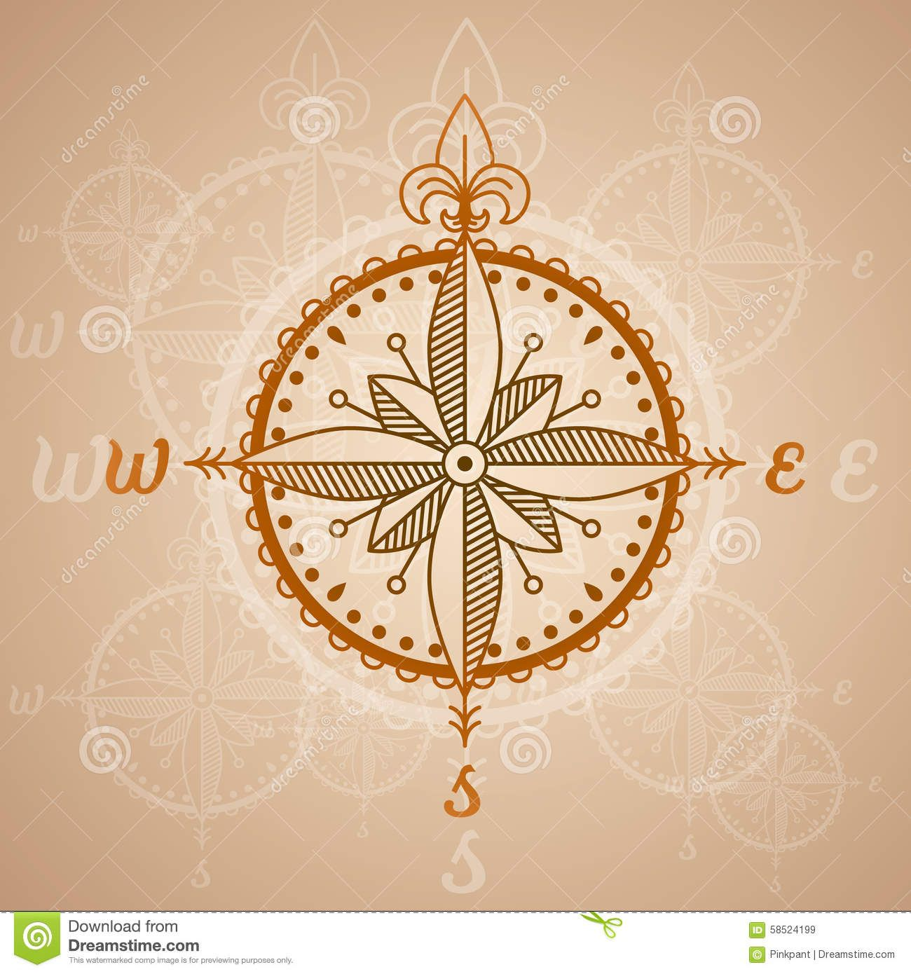 Vintage Compass Roses, Icon And Design Element. Vector Nautical Label. - Download From Over 43 Million High Quality Stock Photos, Images, Vectors. Sign up for FREE today. Image: 58524199