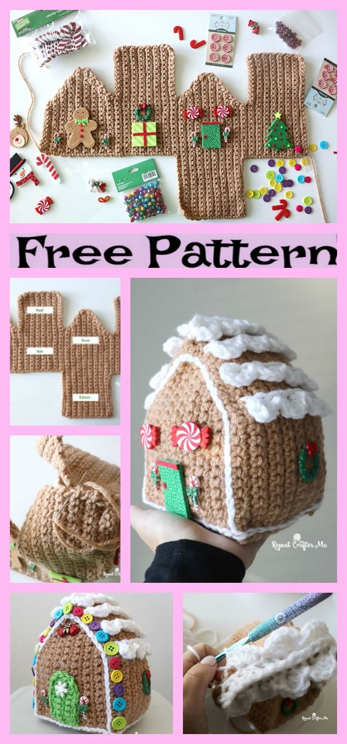 Crochet Gingerbread House - Free Pattern #crochetanimalamigurumi