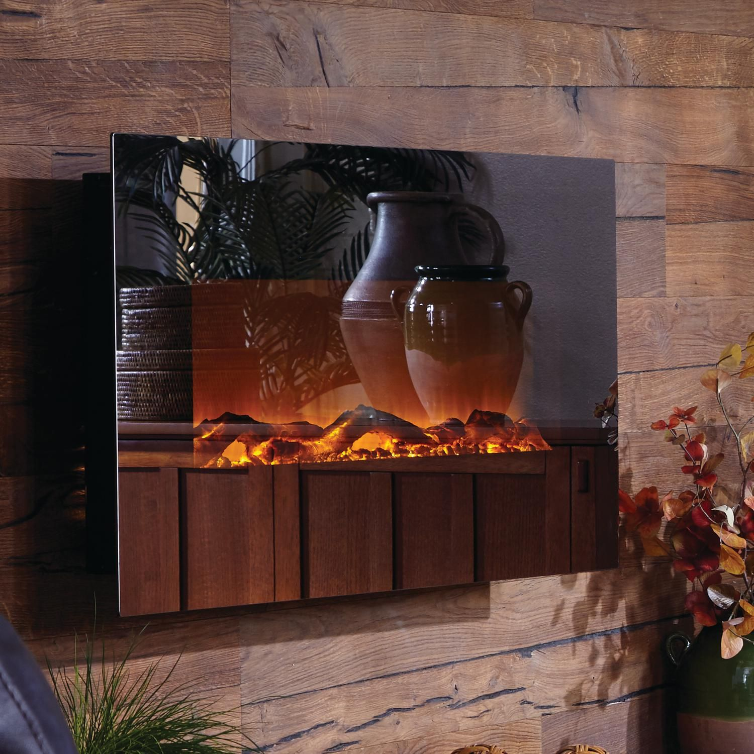 Touchstone Home Products Onyx 50 Inch Wall Mount Electric Fireplace With Mirror Glass Surround 80008 Wall Mount Electric Fireplace Fireplace Mirror Mirror Wall
