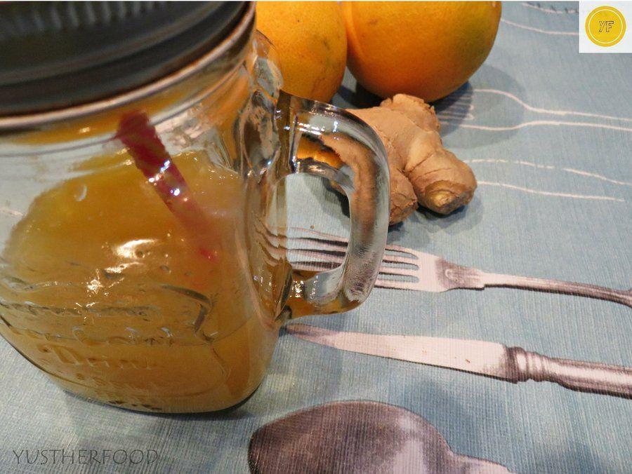Nuestra amiga de YUSTHERFOOD nos invita a hacernos nuestras propias bebidas detox en casa como esta de naranja y jengibre que nos trae. ¡Con muchas propiedades saludables!