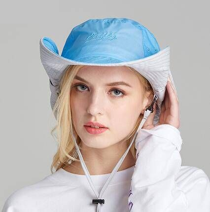 Blue packable bucket hat with strings for women UV protection sun hats 01fdf4a6e2c