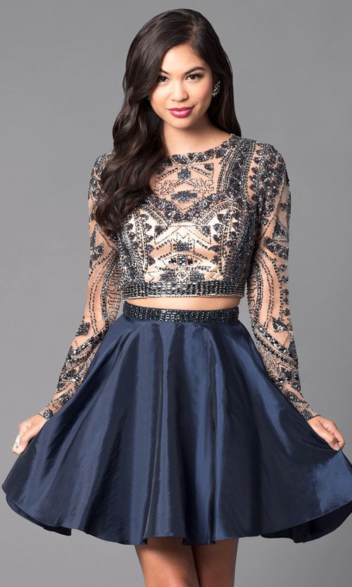06cd4039ccb Homecoming Dresses 2018 Embellished Two-Piece Short Open-Back Homecoming  Dress