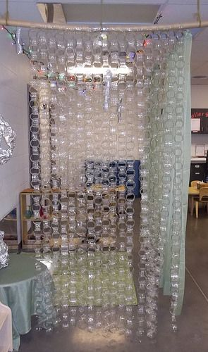 Recycled Plastic Water Bottle Curtain Pretty Red Flames