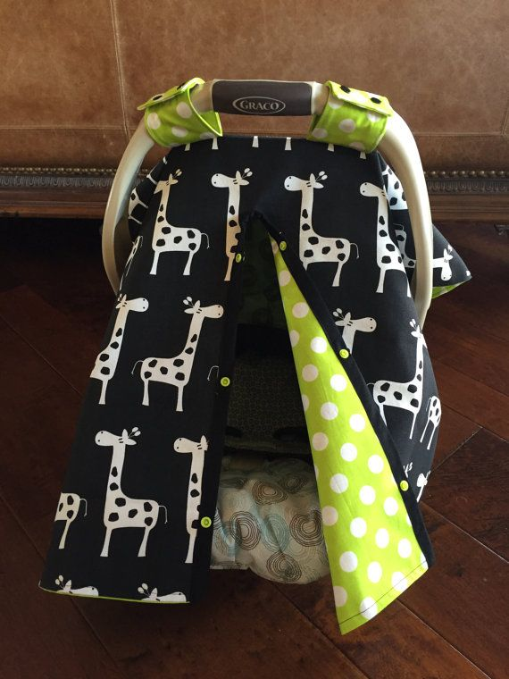 Black Giraffe And Lime Green Baby Car Seat Cover By