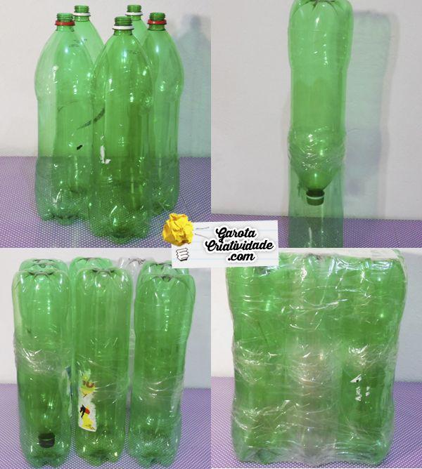 Artesanato Ideias Incriveis ~ Puff de garrafa pet Como fazer puff c reciclagem de garrafa Artesanato, Criativo e Artesanato