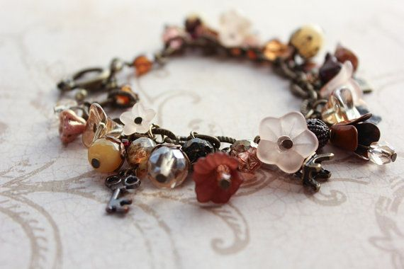 Earth Tones Charm Bracelet Autumn in Paris by apocketofposies