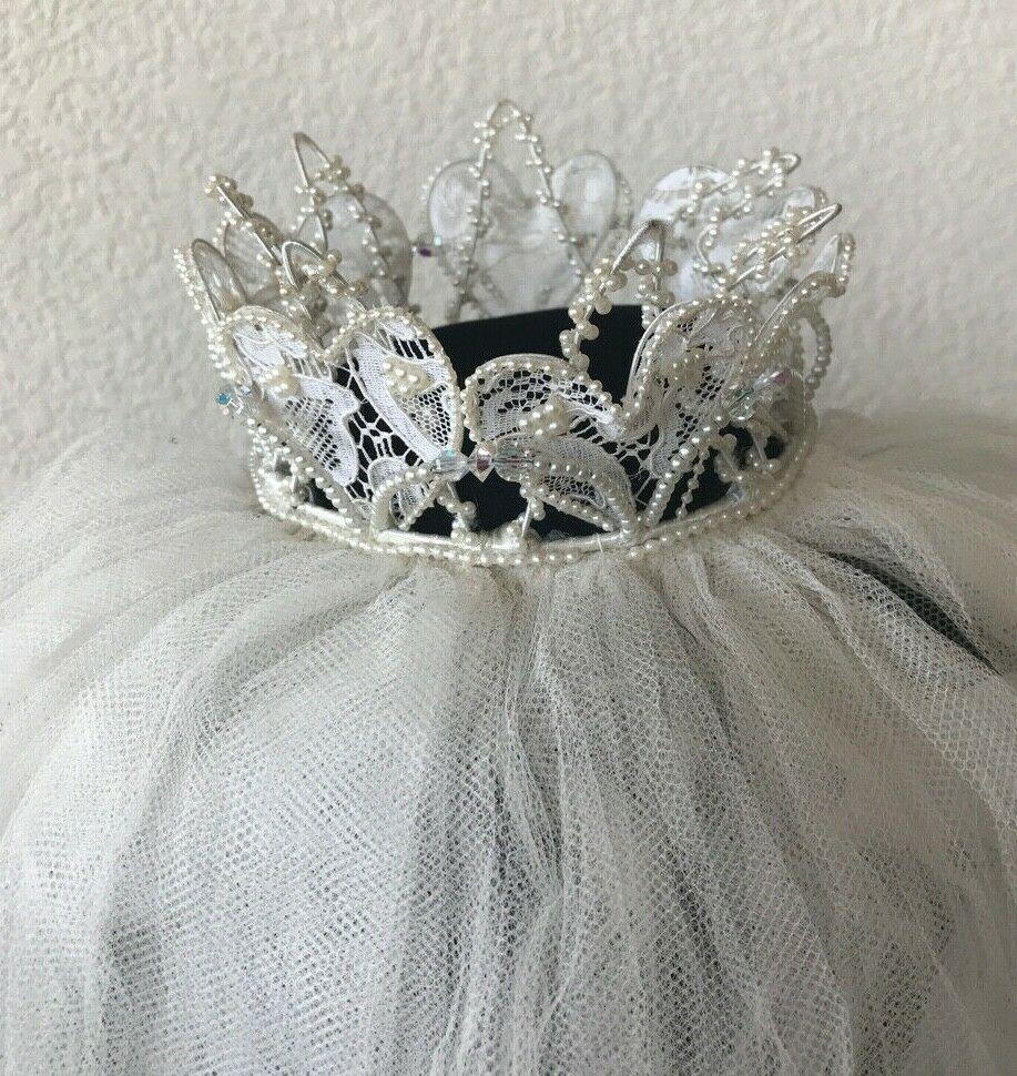 Vintage Beaded Lace Crown 22 Veil Tiara Pearl Layered Bridal Wedding Princess кружевные короны бисерные кружева свадебное кружево