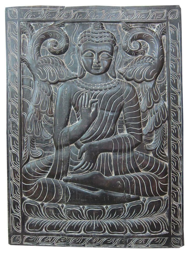 India Decor Decorative Panel Vitarka Teaching Buddha Hand Carved Wall Panels Carved Wood Wall Art Wood Wall Art Stone Statues