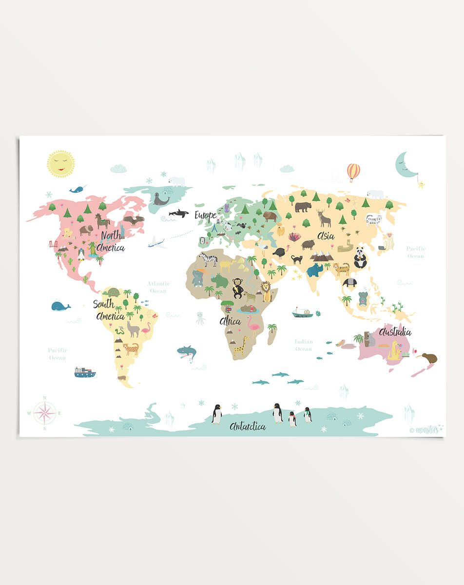 Animal World Map Poster 50 X 70 Cm Map For Kids Nursery Print